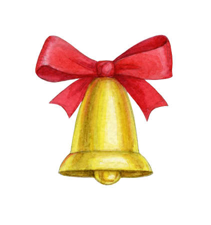 Watercolor christmas bell