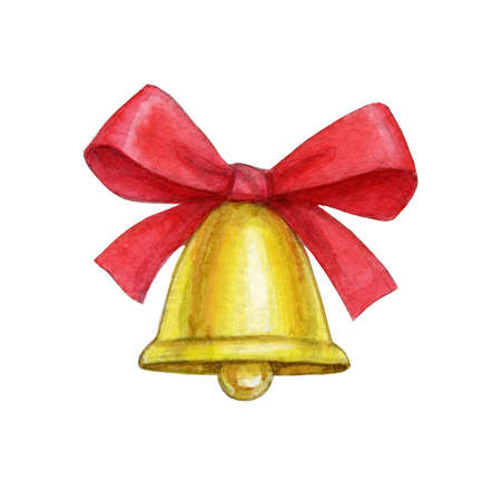 Christmas bell with red bow isolated on white. Hand drew watercolor illustration. New Year and Xmas Holidays design.
