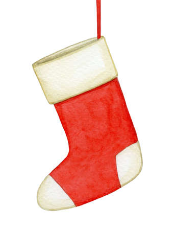 Watercolor illustration of Christmas sock.