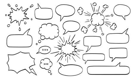 Grote reeks tekstballonnen.