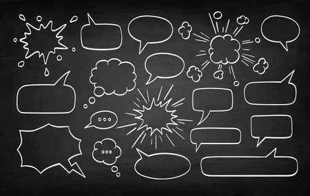 Set of speech bubbles. Chalk sketch on blackboard background. Hand drawn vector illustration. Retro style.