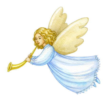 Watercolor christmas angel.