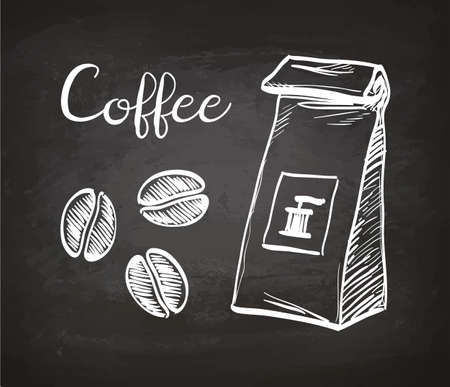 Package and coffee beans. Chalk sketch on blackboard. Hand drawn vector illustration. Retro style.
