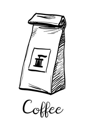 Paket von Kaffee . Tintenskizze lokalisiert auf weißem Hintergrund . Hand gezeichnete vektorabbildung . Retro-Stil Standard-Bild - 92934024