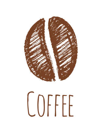 Pencil drawing of a coffee bean. Isolated on white background. Hand drawn vector illustration. Retro style.