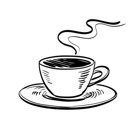 Cup of coffee. Ink sketch isolated on white background. Hand drawn vector illustration. Retro style.  イラスト・ベクター素材