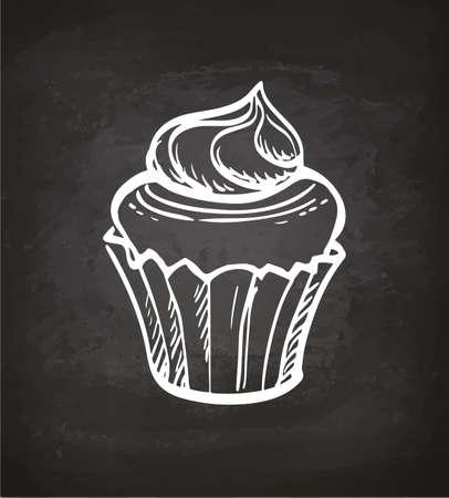Cupcake Met Room. Krijt schets op blackboard. Hand getrokken vectorillustratie. Retro stijl.