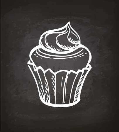 Cupcake with cream. Chalk sketch on blackboard. Hand drawn vector illustration. Retro style.