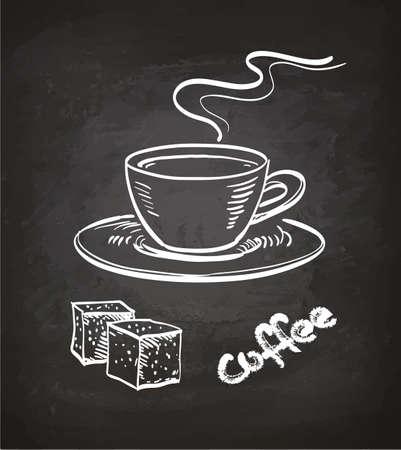 Tazza di caffè e zollette di zucchero. Schizzo di gesso sulla lavagna. Illustrazione vettoriale disegnato a mano Stile retrò.