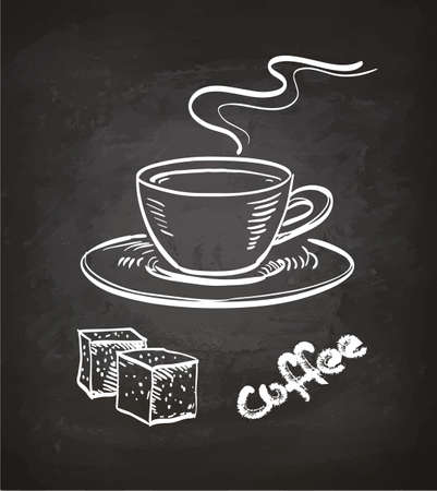 Cup of coffee and sugar cubes. Chalk sketch on blackboard. Hand drawn vector illustration. Retro style.