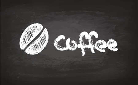 Text and coffee bean chalk sketch on blackboard. Hand drawn vector illustration. Calligraphic Lettering. Retro style.