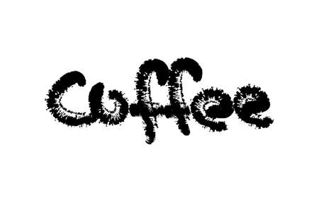 Coffee text. Grunge style calligraphic Lettering. Isolated on white background. Hand drawn vector illustration. Retro style.