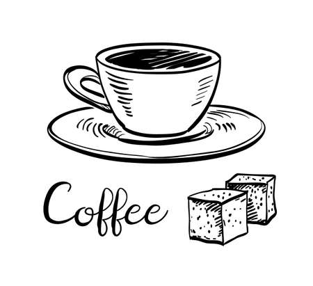 Cup of coffee and sugar cubes. Ink sketch isolated on white background. Hand drawn vector illustration. Retro style. Illusztráció
