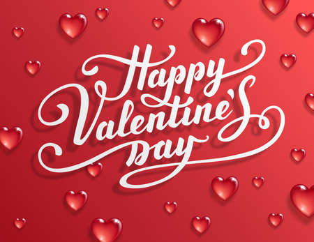 Happy Valentines Day text. Calligraphic Lettering. Valentine s day greeting card template. Vector illustration. Illustration