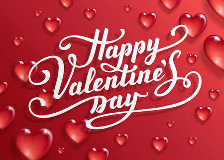 Happy Valentines Day text. Calligraphic Lettering. Valentine s day greeting card template. Vector illustration. 向量圖像