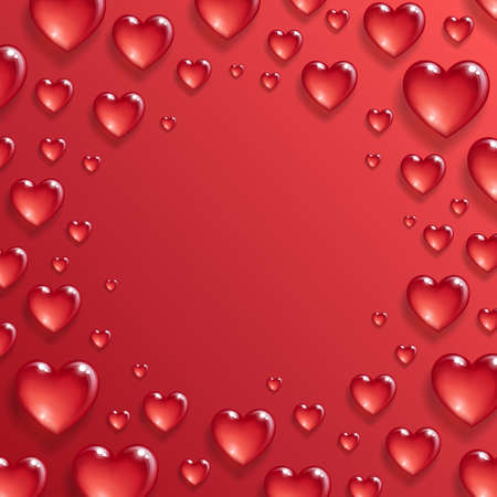 Valentines day greeting card template. Red background. Hearts that look like drops of water. Vector illustration.