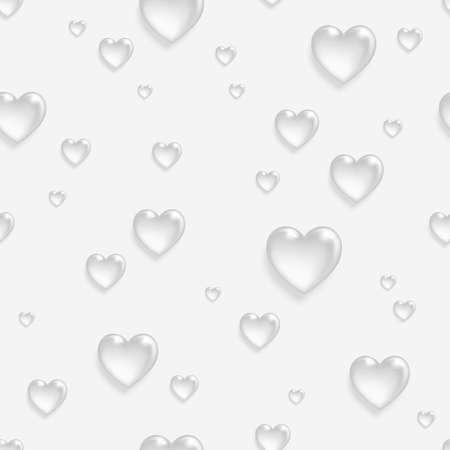 3Dハートで色あせたシームレスなパターン。バレンタインデーの背景。ベクトルイラスト。