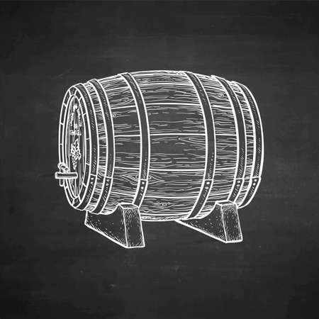 木製の樽のチョークスケッチ。