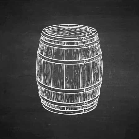 Wooden barrel of wine or beer. Chalk sketch on blackboard background. Hand drawn vector illustration. Retro style.