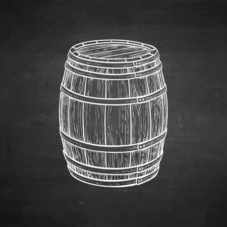 Wooden barrel of wine or beer. Chalk sketch on blackboard background. Hand drawn vector illustration. Retro style.