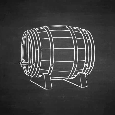 Krijtschets van houten vat. Stock Illustratie