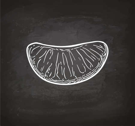 Slice of mandarin orange. Chalk sketch on blackboard background. Hand drawn vector illustration. Retro style.