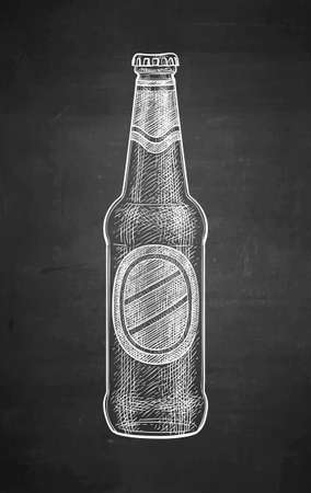 Chalk sketch of beer bottle.