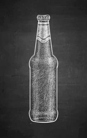 Chalk sketch of beer bottle.