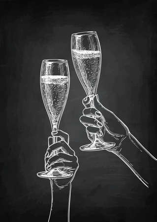 Two hands clinking glasses of champagne. Banco de Imagens - 97178339