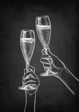 Two hands clinking glasses of champagne. Illusztráció
