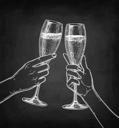 Deux mains tinter des verres de champagne. Banque d'images - 97178667