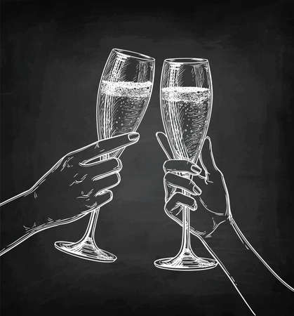 Two hands clinking glasses of champagne. Illustration