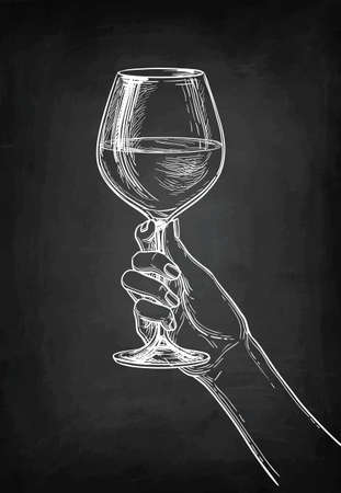 Hand holding a glass of wine. Chalk sketch on blackboard background. Hand drawn vector illustration. Retro style.