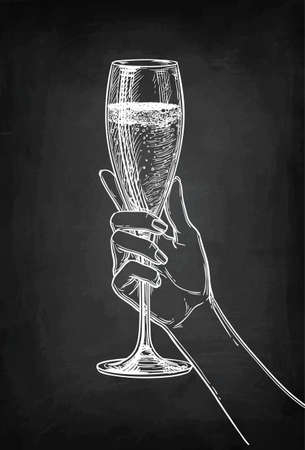 Hand holding a glass of champagne. Chalk sketch on blackboard background. Hand drawn vector illustration. Retro style. 向量圖像