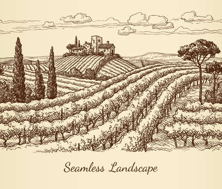 A Vineyard seamless landscape  isolated on plain light pink  background. Ilustração