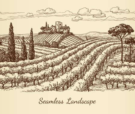 A Vineyard seamless landscape  isolated on plain light pink  background. Illustration