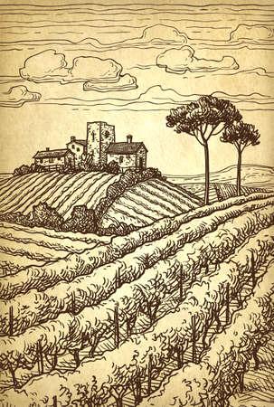 Hand drawn farm landscape. Ilustração