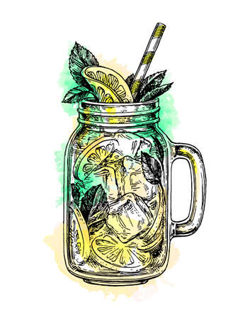 A lemonade in mason jar isolated on plain  background.