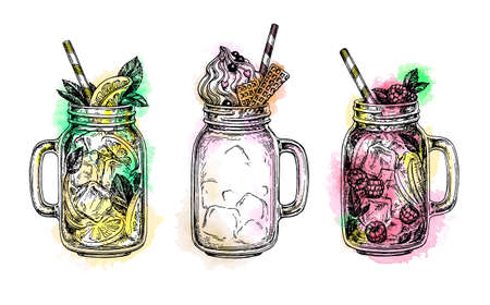 Set of drinks in in mason jars isolated on plain  background. 向量圖像