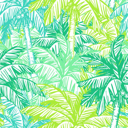 Colorful seamless pattern with coconut palm trees. Stock Illustratie