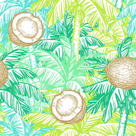 Seamless pattern with coconut and palm trees Stock Illustratie