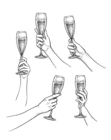 Hands holding glasses of champagne. Ink sketch collection isolated on white background. Hand drawn vector illustration. Retro style. Ilustração