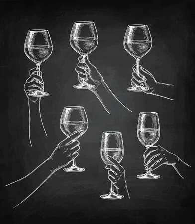 Chalk sketch collection of hands holding glasses on blackboard background illustration. Illustration