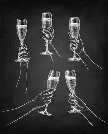 Chalk sketch collection of hands holding glasses on blackboard background illustration. Illustration