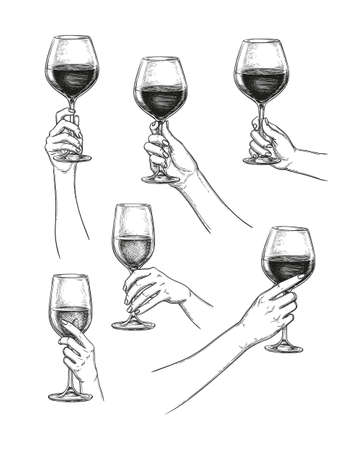 Hands holding glasses of wine. Ink sketch collection isolated on white background. Hand drawn vector illustration. Retro style.