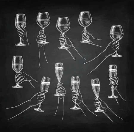 Set of hands with wine glasses isolated  on dark background.