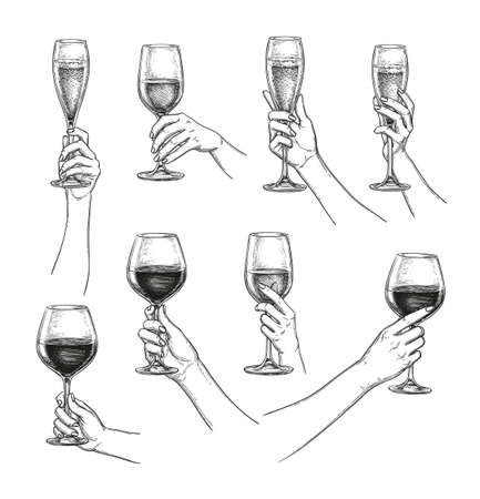 Set of hands with wine glasses 일러스트