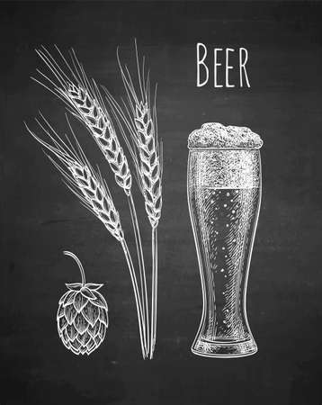 Chalk sketch of beer