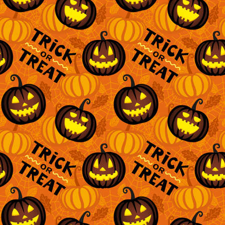 Autumn seamless pattern with pumpkin, leaves and spider web. Halloween design. Иллюстрация