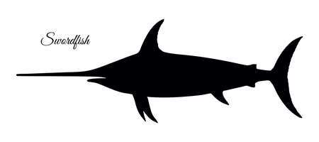 Silhouette of swordfish. Hand drawn vector illustration isolated on white background. Retro style.